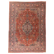 Antique Fine Persian Mohajeran Sarouk Area Rug Wool Circa 1910, SIZE: 8'7'' x 12'5''