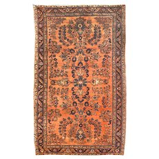 "Antique Rug Persian Sarouk, Hand Knotted, Circa 1910, Size 2'6"" x 4'9"""