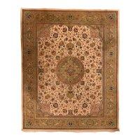 Vintage Beige Indo Beige Tabriz Indian Area Rug Wool Circa 1970, SIZE: 8'0'' x 10'0''