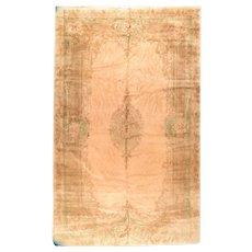 Semi Antique Beige Kerman Persian Area Rug Wool Circa 1930, SIZE:  11'7'' x 20'0''