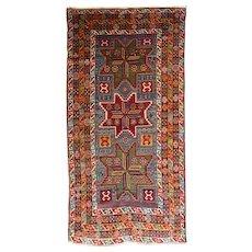 Antique Red Kazak Russian Area Rug Wool Circa 1890, SIZE: 4'3'' x 8'7''