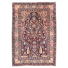 Antique Red Tehran Persian Area Rug Silk & Wool Circa 1890, SIZE: 4'7'' x 6'9''