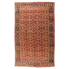 Antique Light Brown Persian Mahal  Area Rug Wool Circa 1910, SIZE: 10'6'' x 17'8''