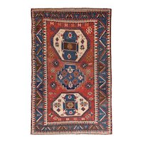 Antique Red Kazak Russian Area Rug Wool Circa 1890, SIZE: 5'0'' x 7'8''