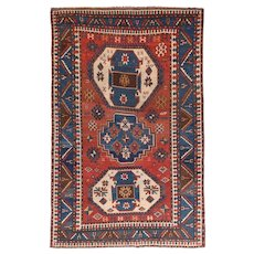 Antique Red Kazak Russian Area Rug Wool Circa 1890, SIZE: 5'0'' x 7'8''