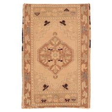 Semi Antique Beige Turkish Area Rug Wool Circa 1920 SIZE: 2'0'' x 3'4''