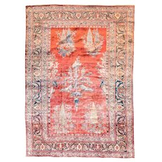 Antique Persain Rug Heriz Silk On Silk Hand Knotted Circa 1880, 4'6'' x 6'4""