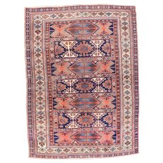 Antique Rust Kazak Persian Area Rug Wool Circa 1920 SIZE: 5'5'' x 7'5''