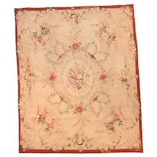 Antique Beige Aubusson-Beauvais French Tapestry Area Rug Circa 1900, SIZE: 5'1'' x 6'2''