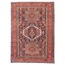 Antique Navy Karaje Herris Persian Area Rug Wool Circa 1900, SIZE: 4'8'' x 6'5''