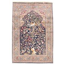 Hand Knotted Persian Tabriz Wool & Silk Circa 1940, SIZE: 4'6'' x 6'10''