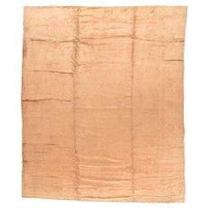 Vintage Beige Ivory Oushak  Turkish Area Rug Wool Circa 1950, SIZE: 11'2'' x 14'3''