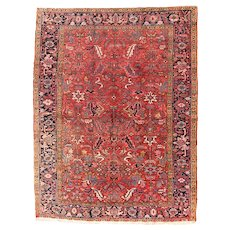 Fine Antique Persian Heriz Rug Wool Circa 1920, SIZE: 6'6'' x 8'7''
