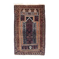 Semi Antique Ivory Persian Gabbeh Area Rug Circa 1960 SIZE: 2'4'' x 2'10''