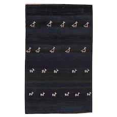 Semi Antique Fine Persian Tribal Gabbeh Area Rug Wool Circa 1950 SIZE: 4'11'' x 8'1''
