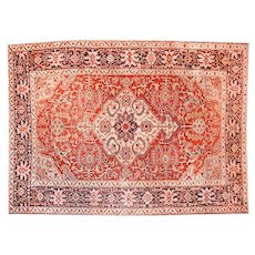 "Antique Persian Rug Serapi, Hand Knotted, Circa 1910, Size 8'9"" x 13'"