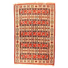 Extremely Fine Persian Antique Kilim Circa 1920, SIZE: 5'8'' x 8'7''
