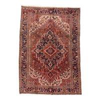 Fine Antique Persian Heriz Rug Wool Circa 1920, SIZE: 7'9'' x 11'2''