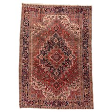 Fine Antique Persian Heriz Rug Wool Circa 1920, SIZE: 7'9'' x 11'2''