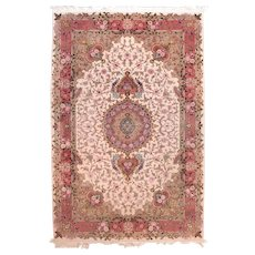 Vintage Beige Persian Tabriz Area Rug Silk & Wool Circa 1970, SIZE: 6'0'' x 9'4''