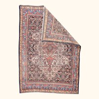 """Fine Antique Bibikabad Persian Tribal Rug, Hand Knotted, Circa 1910, Size 4'9"""" x 6'9"""""""