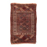 Antique Red Turkman Russian Area Rug Wool Circa 1920, SIZE: 2'11'' x 4'5''