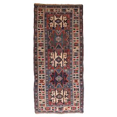 Antique Red Shirvan Russian Area Rug Wool Circa 1890, SIZE: 4'0'' x 9'2''