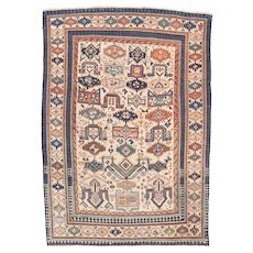 Antique Brown Zeikor Russain Area Rug Wool Circa 1890, SIZE: 4'0'' x 5'5''