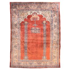 Antique Rust Heriz Persian Area Rug Silk on Silk Circa 1880, SIZE: 5'3'' x 7'0''