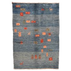 "Fine Vintage Persian Gabbeh,  Hand Knotted, Circa 1950's, Size 4'3""x6'"