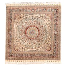 Excellent Beige Hereke Turkish Area Rug Silk Circa 1970, SIZE:4'6'' x 4'9''