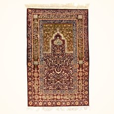 """Turkish Rug Herekeh Silk with Gold Metal Trade and Poetry Script Signed Hand Knotted Circa 1910, Size 3'5"""" x 5'4"""""""