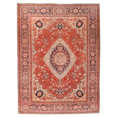 Hand Knotted Persian Mohtasham Kashan Wool-Manchester Circa 1890, SIZE: 7'7'' x 9'11''