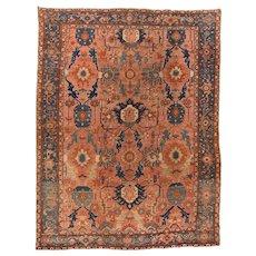 Antique Rust Heriz Bakshaish Persian Area Wool Circa 1890, Size: 9'1'' x 12'3''