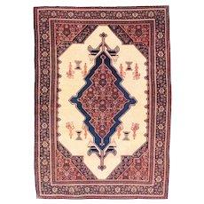 Antique Red Seneh Persian Area Rug Silk & Wool Circa 1890, SIZE: 4'9'' x 6'7''