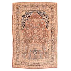 "Fine Antique Persian  Rug Tabriz Haji Jalili Hand Knotted Circa 1890, Size 4'2"" x 5'8"""