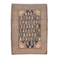 Antique Ivory Fine Persian Malayer Area Rug Wool Circa 1900, Design: 3'7'' x 5'0''