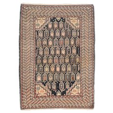 Antique Ivory Fine Persian Malayer Area Rug Wool Circa 1900, Design: 3'7'' x 5'0''