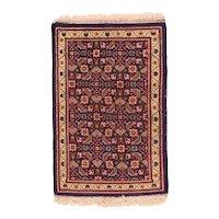 Semi Antique Beige Tabriz Persian Area Rug Wool Circa 1940 SIZE: 1'10'' x 2'7''