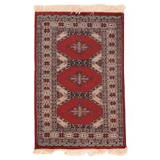 Semi Antique Pak Bokara Area Rug Wool Circa 1940 SIZE: 2'0'' x 3'0''