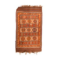 Fine Antique Persian Qashqai Kilim Wool on Wool Circa 1890, SIZE: 5'0'' x 8'7''