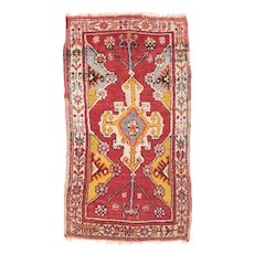 "Fine Antique Red Anatolian Turkish Rug, Hand Knotted, Circa 1900, Size 1'8"" x 3'"