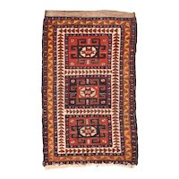 Semi Antique Persian Balouch Area Rug Wool Circa 1950, SIZE: 1'10'' x 3'0''