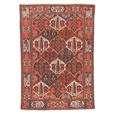 Semi Antique Rust Bakhtiari Persian Area Rug Wool Circa 1930, SIZE: 4'8'' x 6'8''