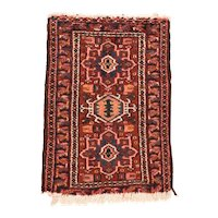 Excellent Persian Area Rug Wool Circa 1900, SIZE: 1'10'' x 2'6''