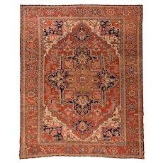 Antique Red Serapi Persian Area Rug Circa 1890, SIZE: 9'9'' x 12'6''