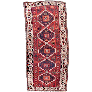 Antique Red Ghashgaie Persian Area Rug Wool Circa 1920 SIZE: 4'3'' x 9'5''
