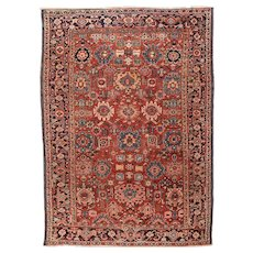 Fine Antique Persian Heriz  Rug Wool on Cotton Circa 1920, SIZE: 6'11'' x 9'10''