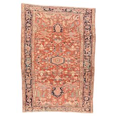 Hand-Knotted Persian Heriz  Wool Circa 1890, SIZE: 7'8'' x 10'10''