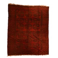 Fine Vintage Afghan Bokhara Tribal 100% Wool Circa 1950, SIZE: 7'4'' x 8'4''